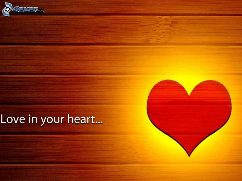 corazón rojo, text