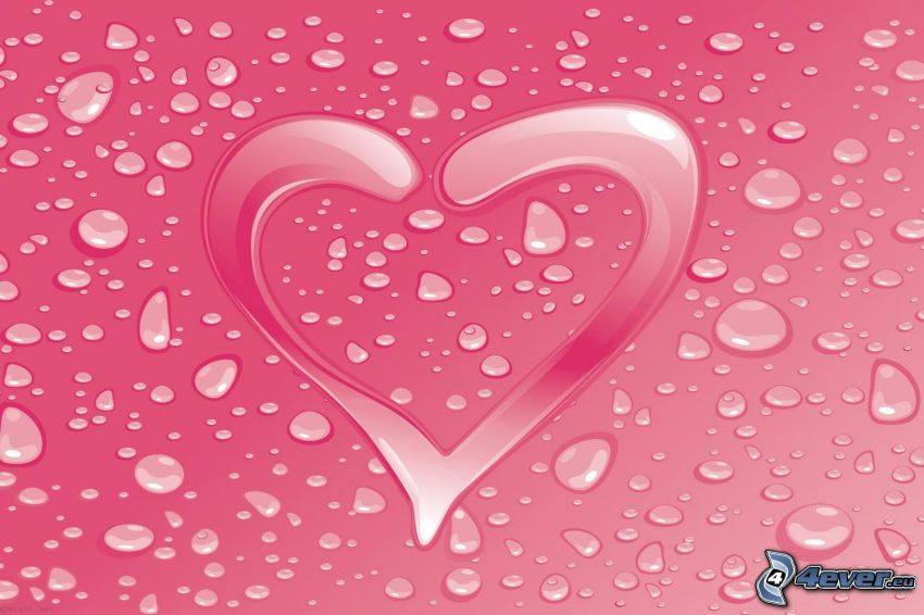 corazón rosado, gotas de agua