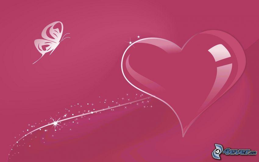 corazón rosado, mariposa