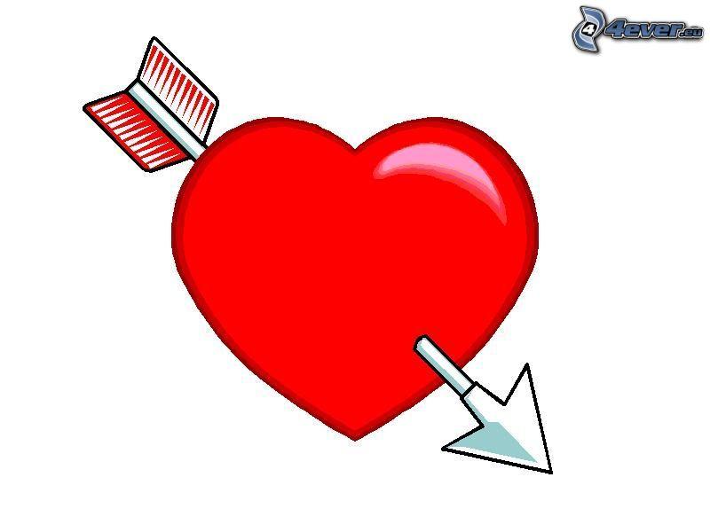 corazón traspasado, Las flechas de Cupido