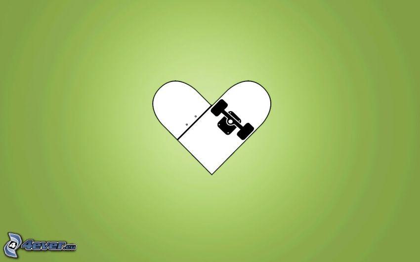 corazón verde, skateboard