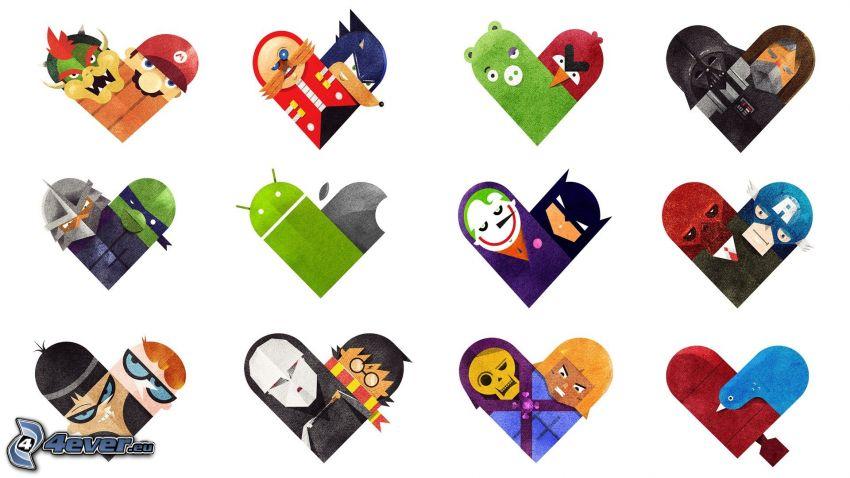 corazones, caracteres