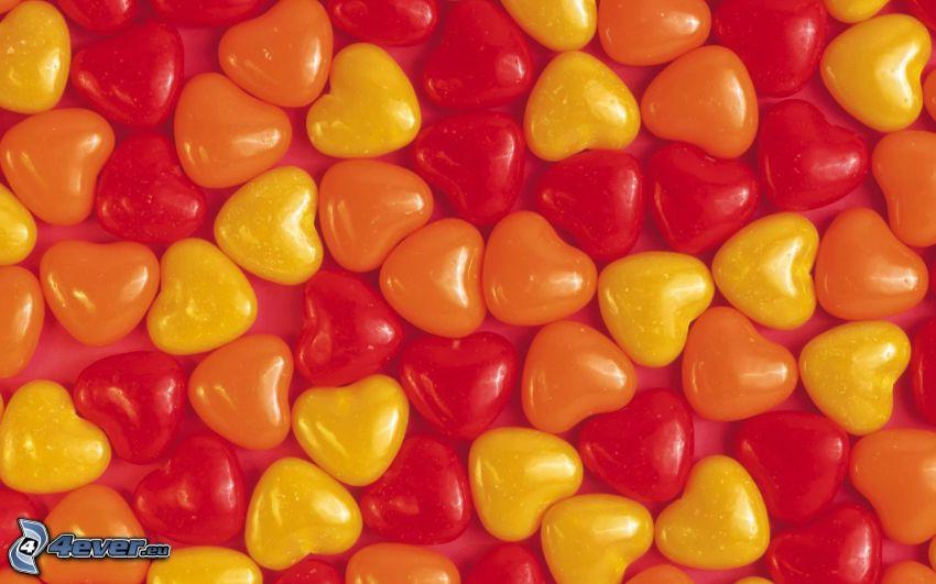 corazones, caramelos