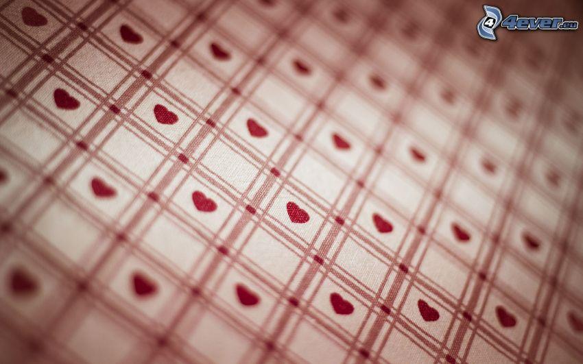 corazones, cuadrados