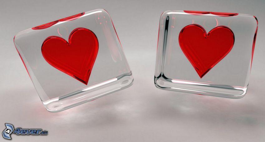 corazones, cubos