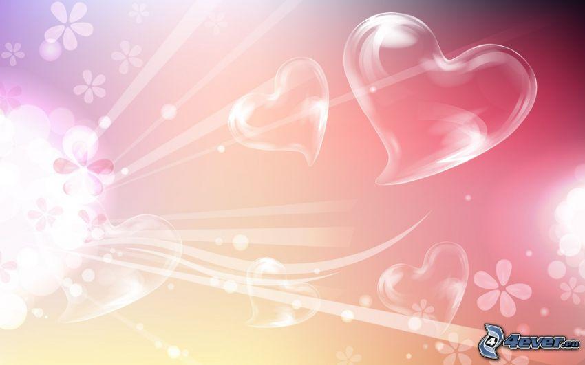 corazones, flores, líneas