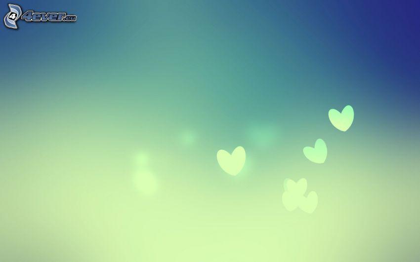 corazones, fondo azul