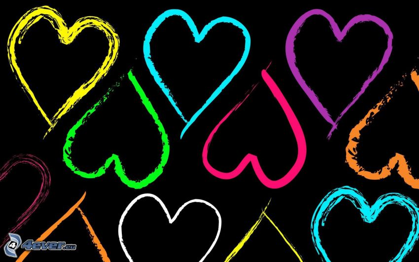 corazones, fondo negro