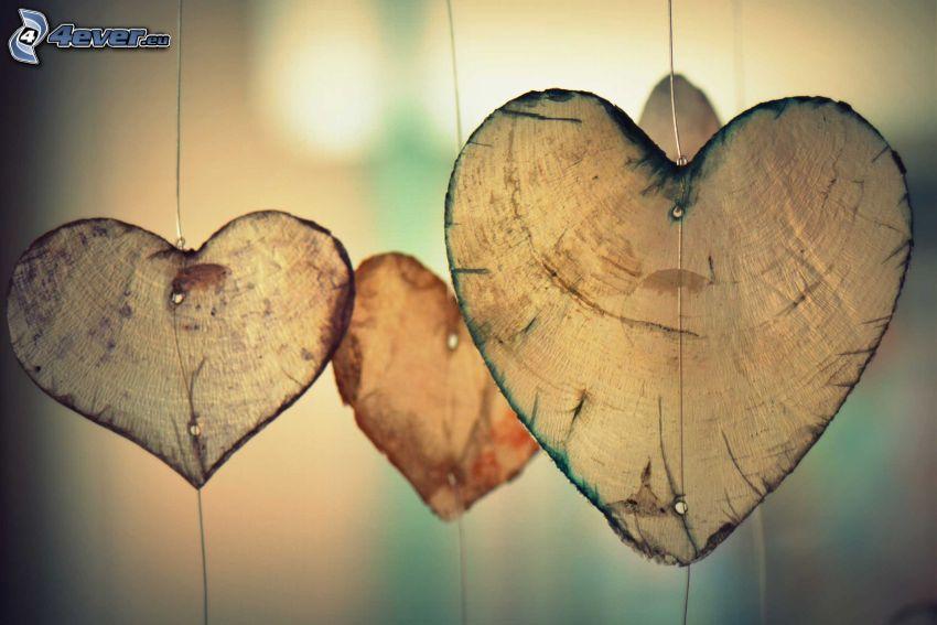corazones, madera