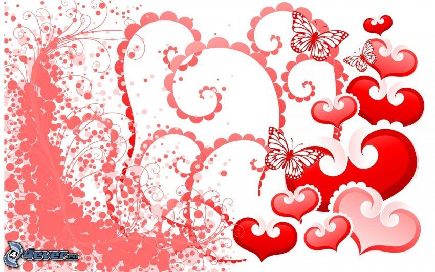 corazones, mariposa, círculos