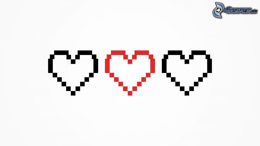 corazones, pixel