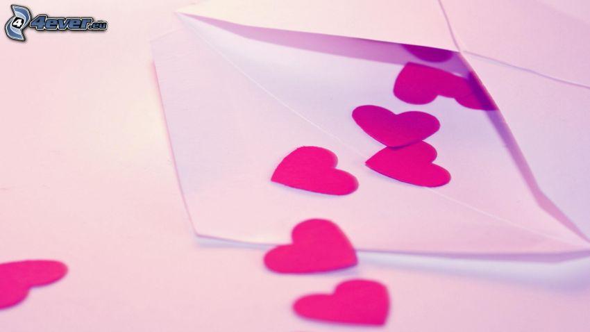 corazones, sobre