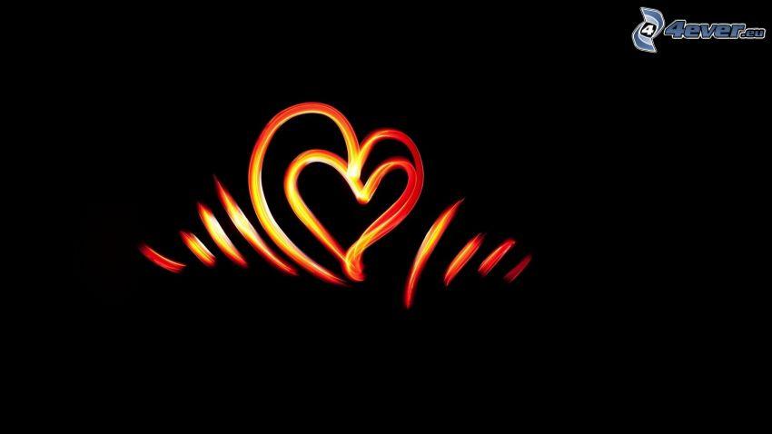 corazones, tiras de colores, fondo negro
