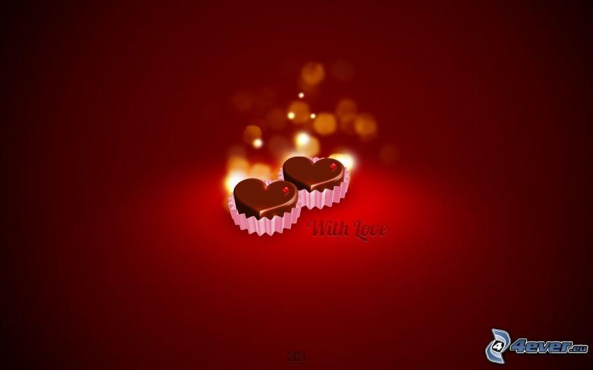 corazones de chocolate, caramelos