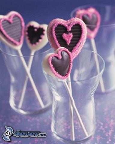 corazones de chupachups, caramelos