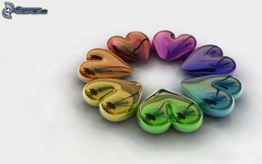 corazones de color, 3D