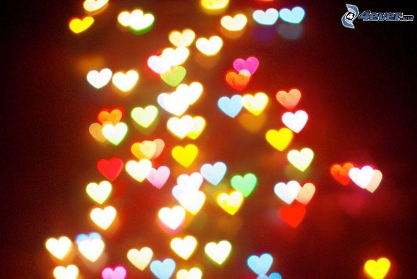 corazones de color, luces