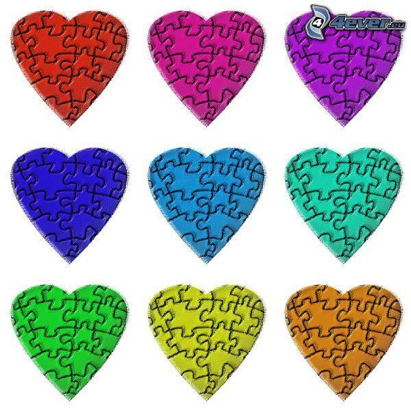 corazones de color, puzzle