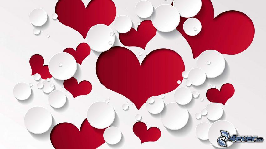 corazones rojos, círculos