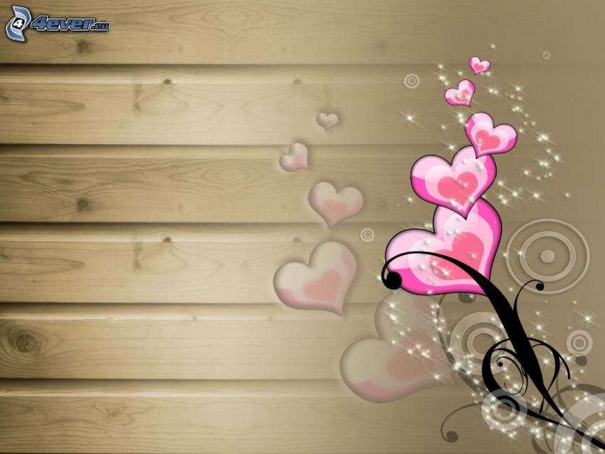 corazones rosados, pared de madera