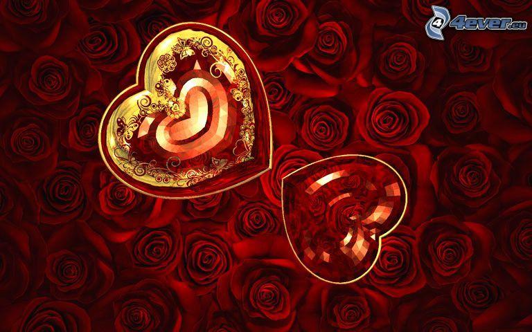 dos corazones, cristal, diamantes, rosas