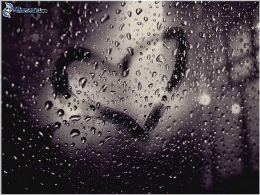 gotas de agua, vidrio, corazón