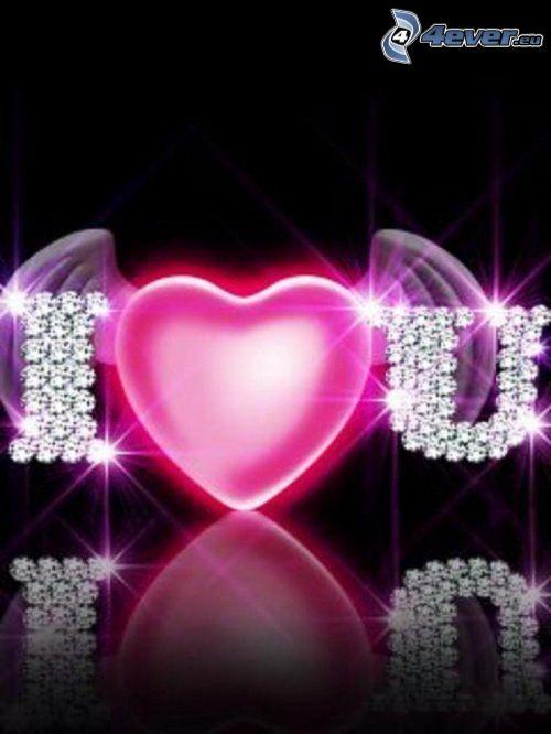 I <3 U, corazón con alas, letras