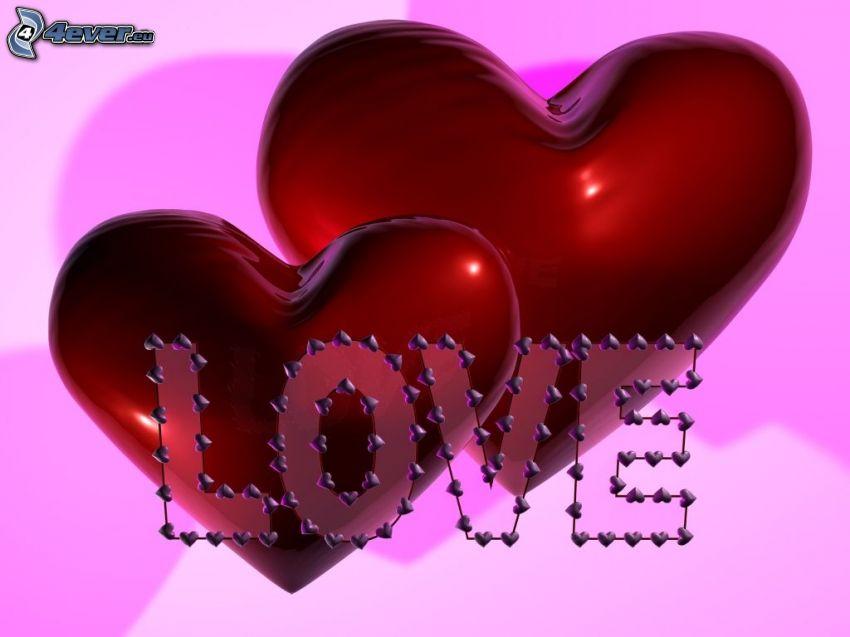love, corazones rojos