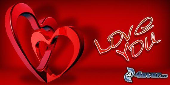 Love You, corazones, arte digital