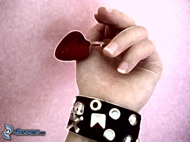 mano, colgante con el corazón, pulsera