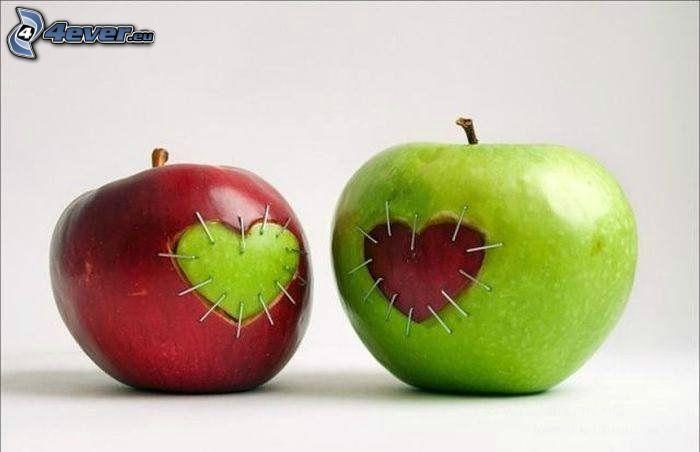 manzanas, corazones