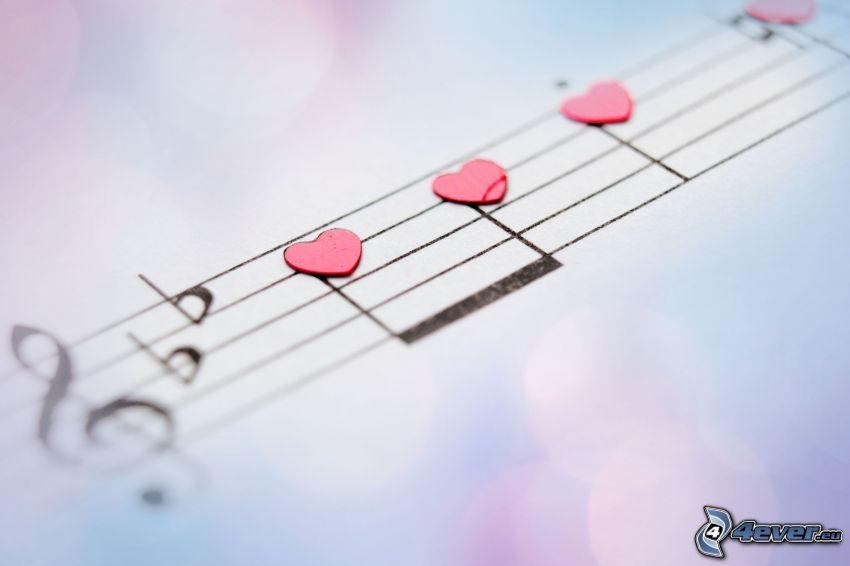notas de música, corazones