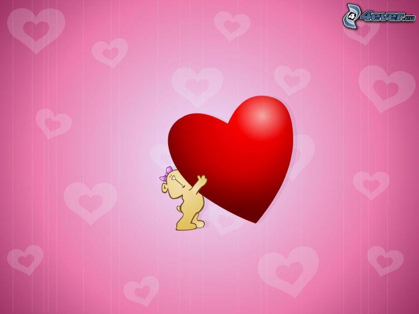 osito con el corazón, corazón rojo, corazones rosados