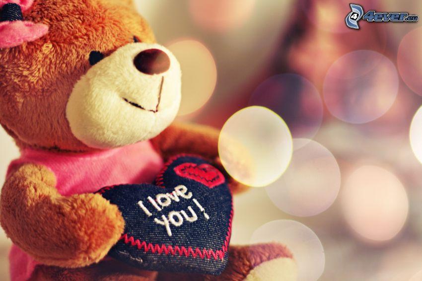 oso de peluche, corazón, I love you