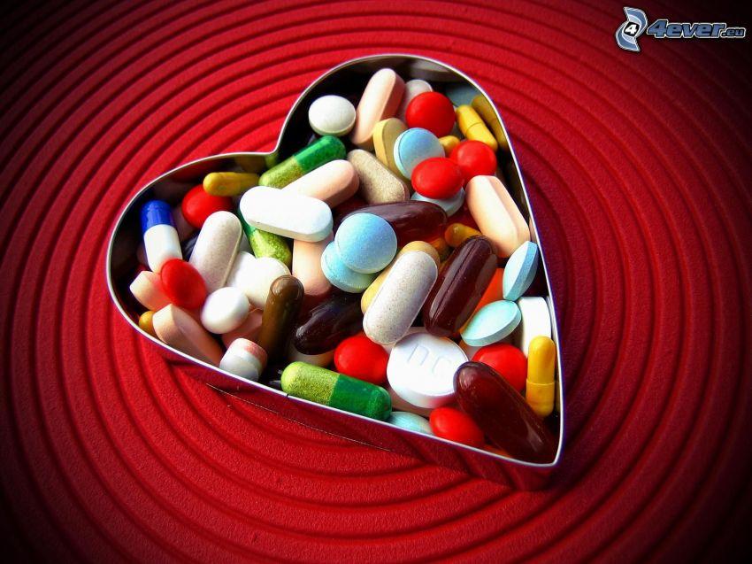 Píldoras, pastillas, corazón