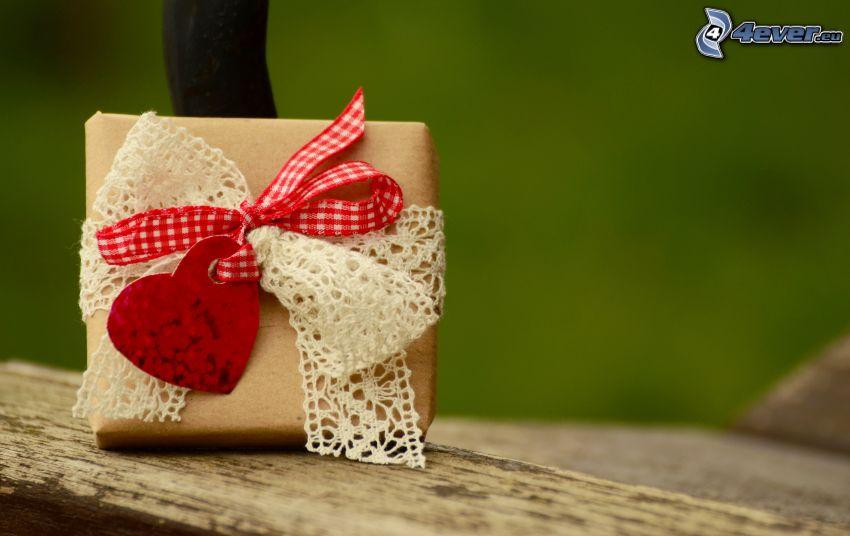 regalo, corazón, moña, cinta