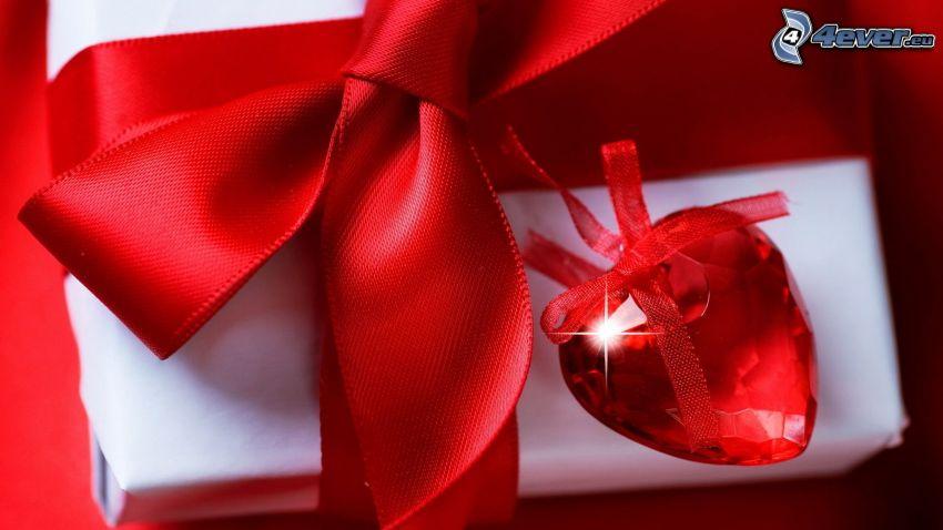 regalo, corazón rojo