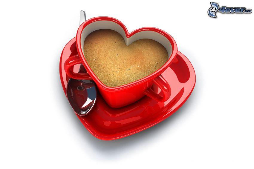 taza en forma de corazón
