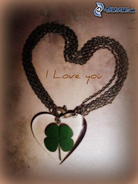 trébol de cuatro hojas, corazón, I love you