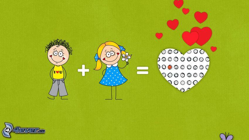 dibujos animados de pareja, corazón, ecuación