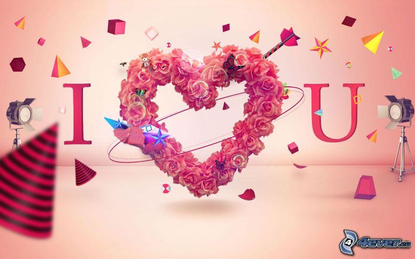 I love you, corazón de flores, formas