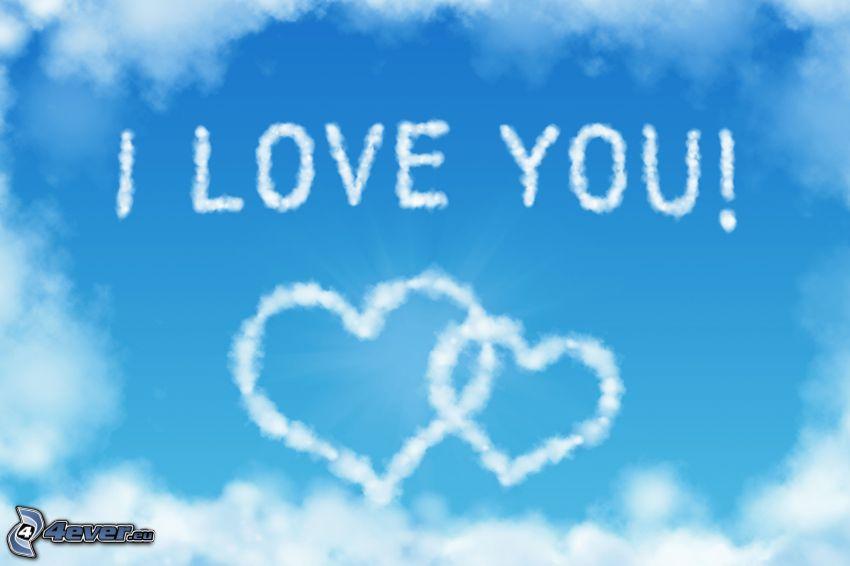 I love you, corazones en el cielo, nubes
