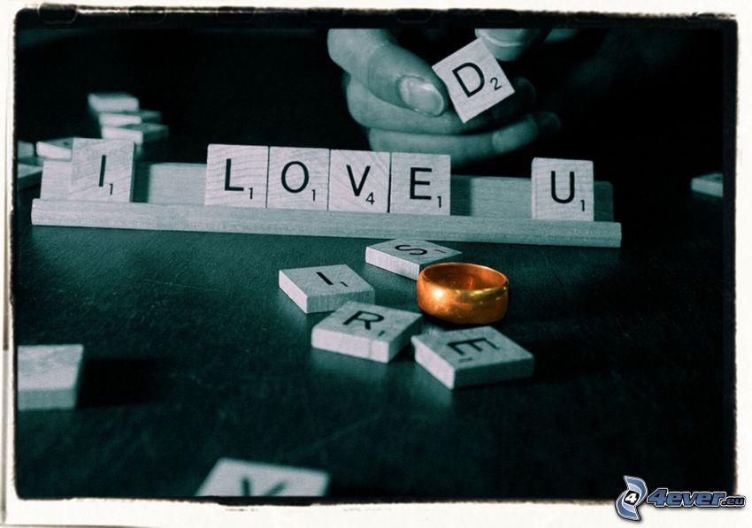 I love you, Scrabble, anillo