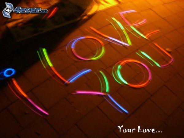 I love you, amor, text, luz intensa