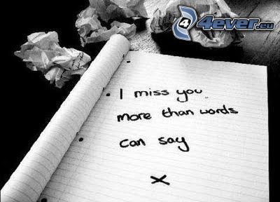 I miss you, Te echo de menos, amor