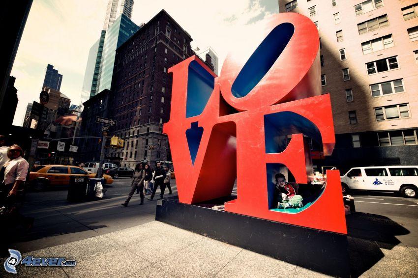 love, calle, rascacielos