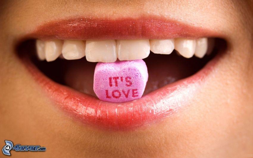 love, caramelo, labios, dientes