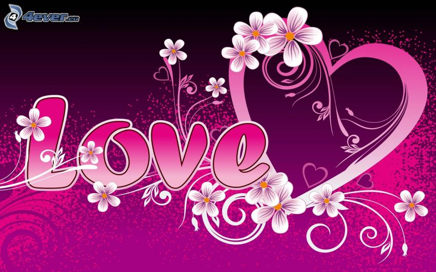love, corazón, flores