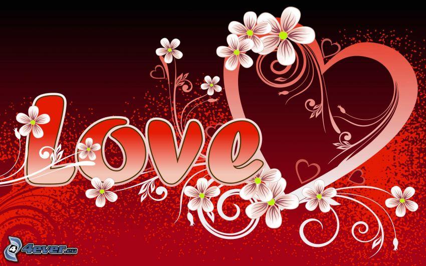 love, corazón, flores digitales