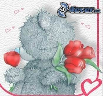 oso de peluche, San Valentín, rosas